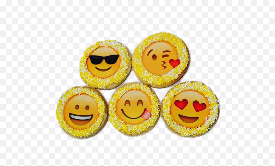 Emoji Sugar Cookies With Nonpareils - Smiley