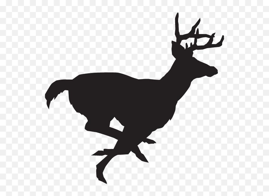 White - Buck Deer Running Silhouette Emoji,Deer Hunting Emoji
