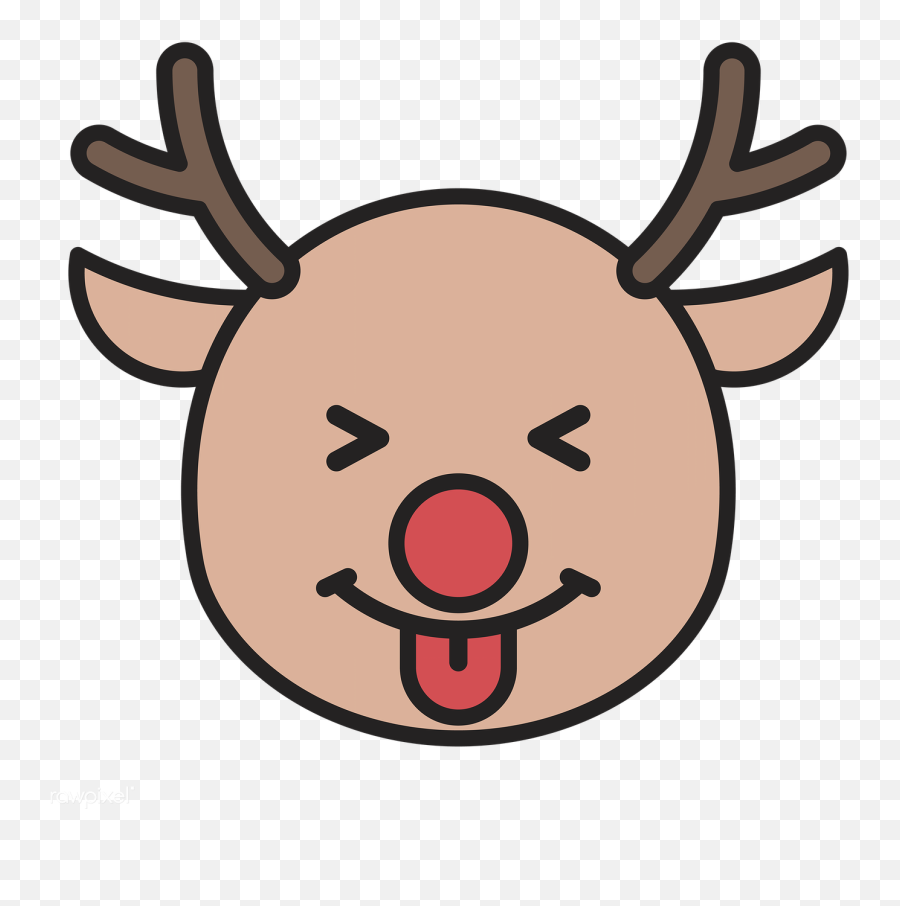 Download Premium Png Of Rudolph Reindeer Face With Tongue Emoticon On - Rudolph Transparent Background Emoji,Open Eye Crying Laughing Emoji