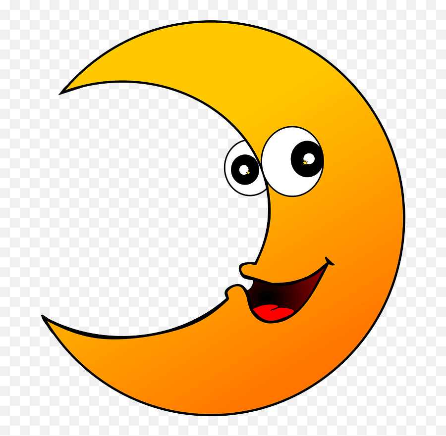 Cartoon Crescent Clipart - Clip Art Images Of Crescent Emoji,Half Smile Emoji