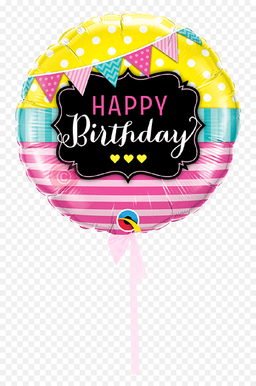 Pink Stripes Balloons Delivered Inflated - Happy Birthday Single Balloon Emoji