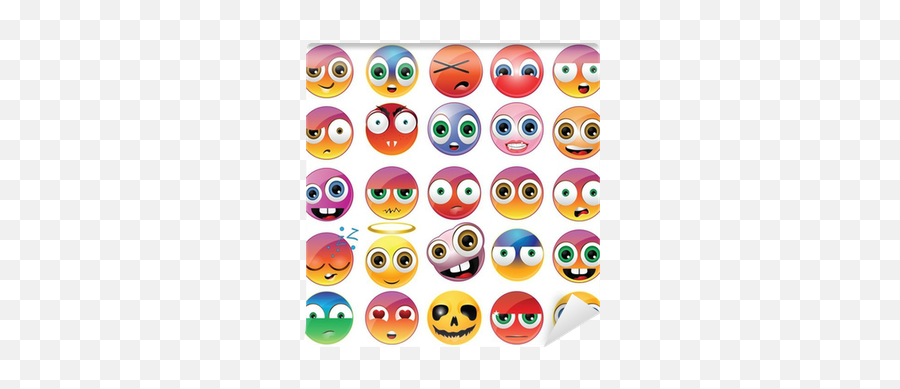 Funny Emoji Wall Mural Pixers - Different Emoji Faces,Funny Emoji