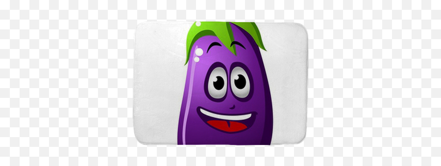 Eggplant Vegetable Or Brinjal Bath Mat - Cartoon Emoji