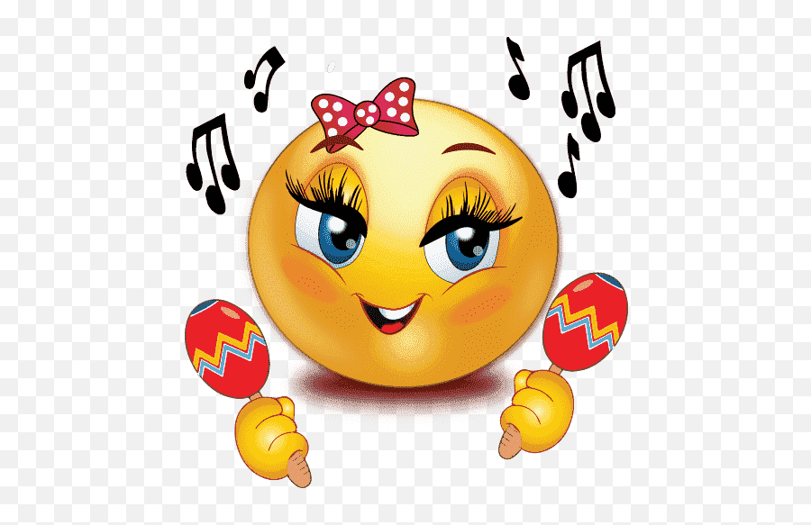 Happy Birthday Emoji PNG Clipart  PNG Mart - Smiley Music Girl
