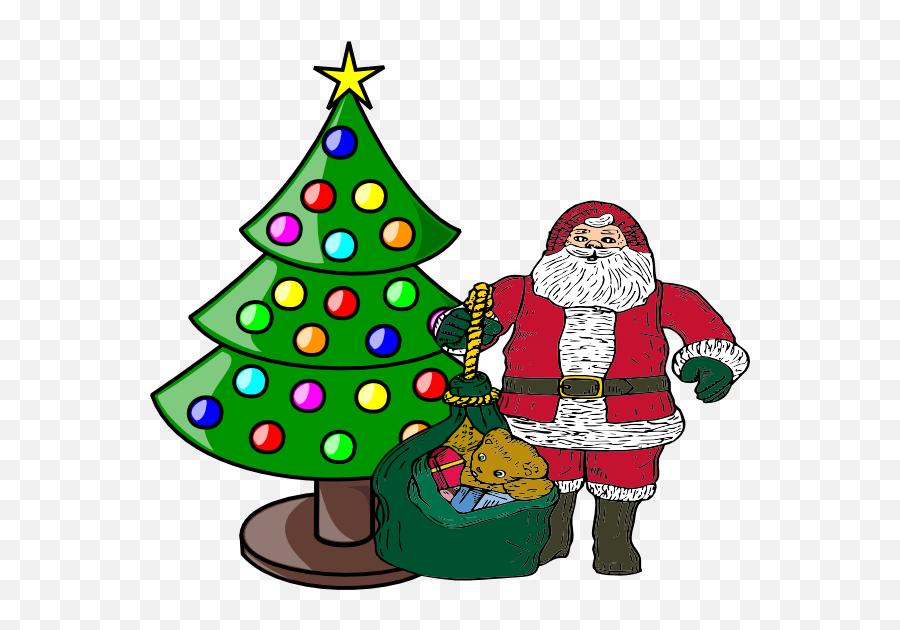 Xmas Tree With Santa Claus - Clipart Christmas Tree Small Emoji,Christmas Tree Emojis