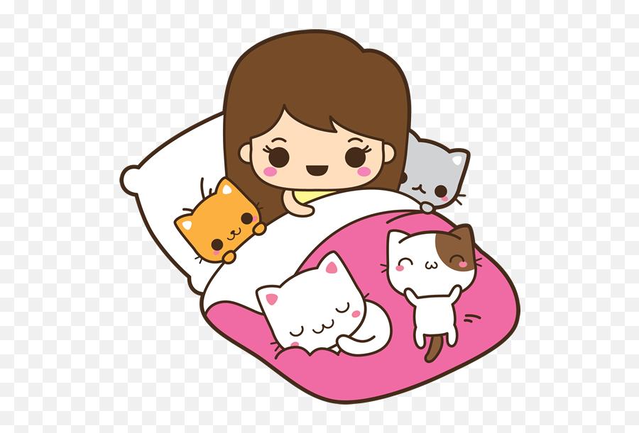 Cat Scratch Png - Bed Full Of Kitties Kawaii Cat Lady Cartoon Emoji,Cat Emoticon Facebook