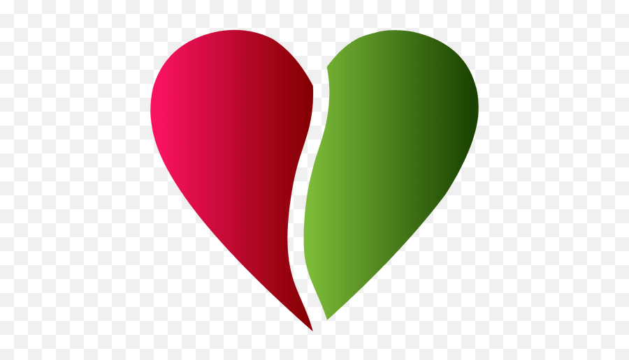 Heart logo half red and green color - Transparent PNG u0026 SVG  Green And Red Heart Emoji
