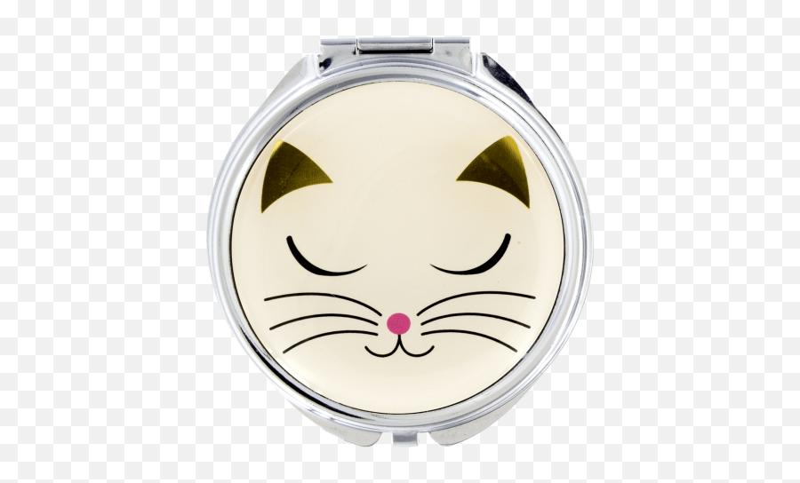 Pocket Mirror - Lady Look White Cat Cartoon Emoji,Cat Emoticon Facebook