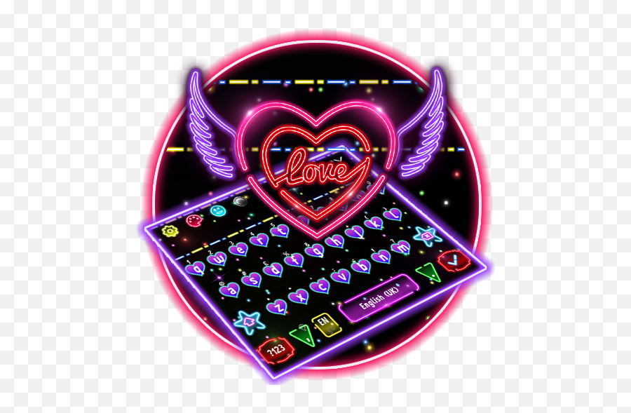 Colorful Neon Sparkling Heart Keyboard - Heart Emoji,Sparkling Heart Emoji