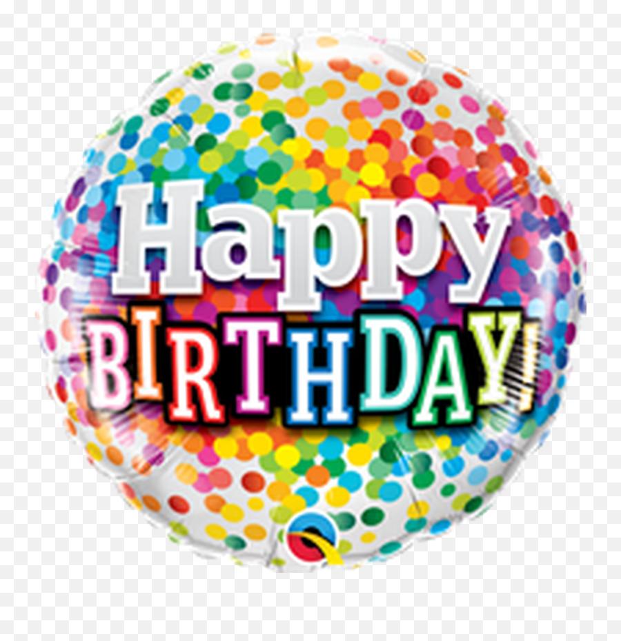 18q Happy Birthday Rainbow Confetti - Happy Birthday Round Balloon Foil Emoji