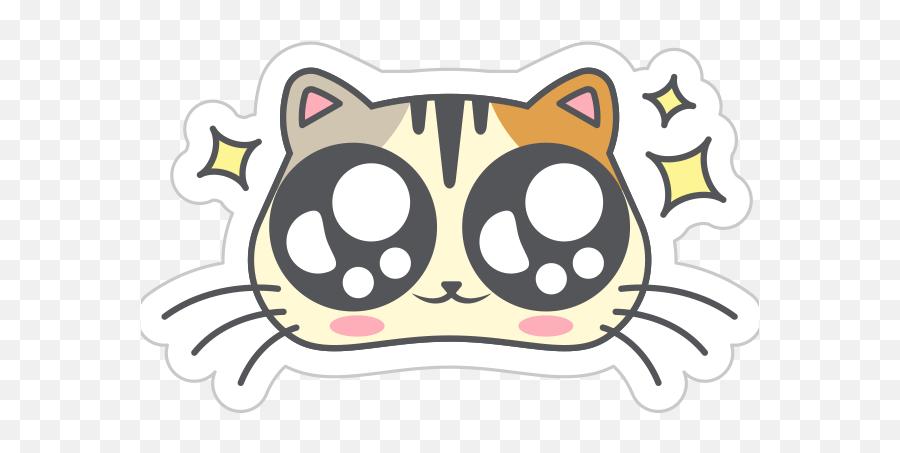 Cute Kitty Png - Cute Kitty Whatsapp Cat Stickers Dot Emoji,Cat Emoticon Facebook