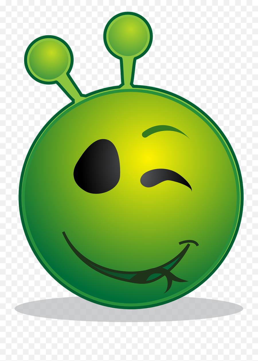 Alien Smiley Wink Emoticon Emoji - Alien Face Wink,Joy Emoji