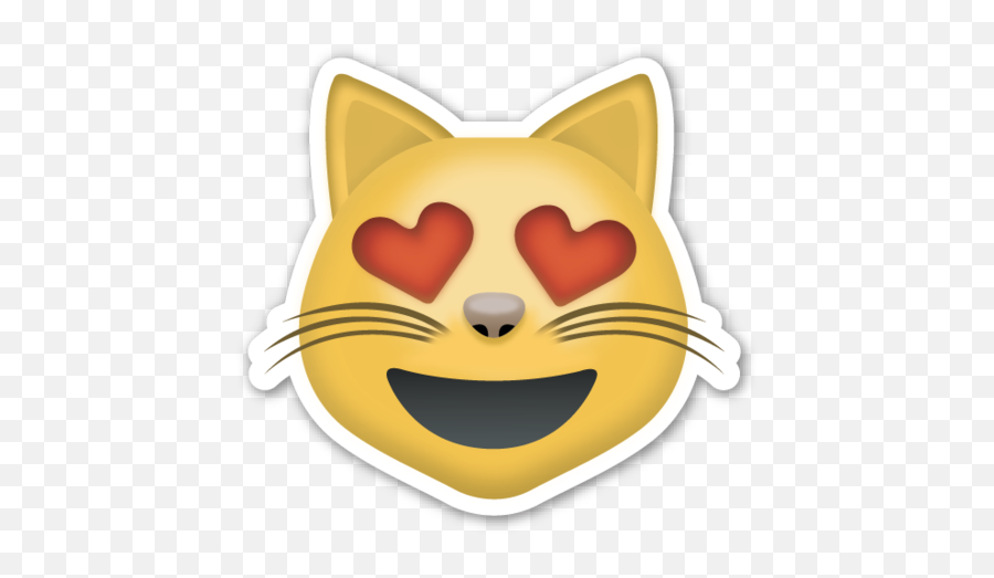 Smiling Cat Face With Heart Shaped Eyes - Emoji Cat Kiss Png,Cat Emoji