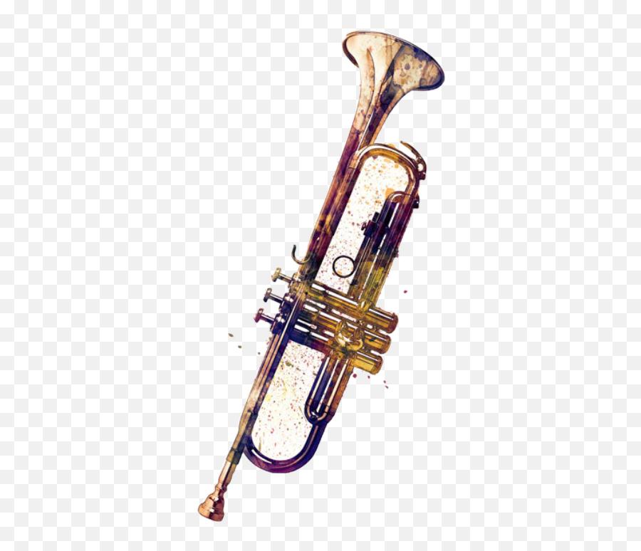 Trending Trombone Stickers - Abstract Watercolor Trumpet Emoji