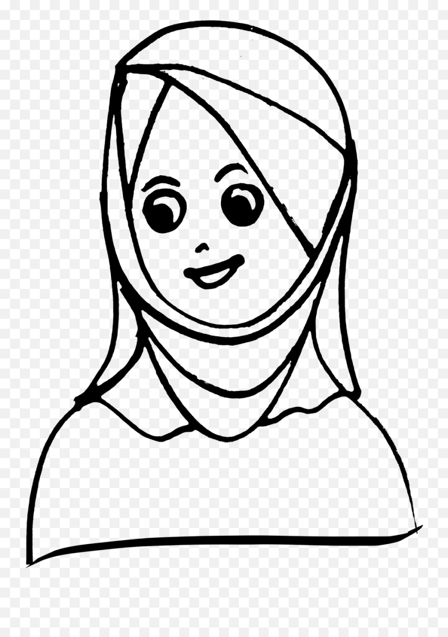 Faces Girl Girl With Head Covered Girl With Headscarf Girl - Head Scarf Clipart Black And White Emoji