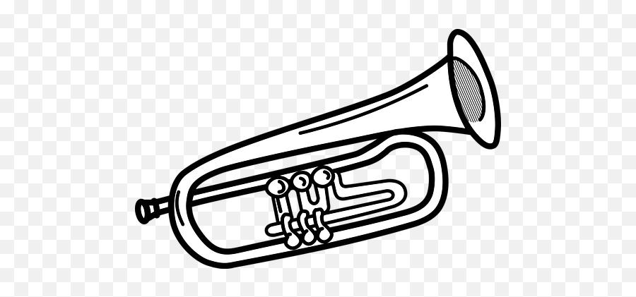 Free Trumpet Music Illustrations - Trumpet Black And White Emoji