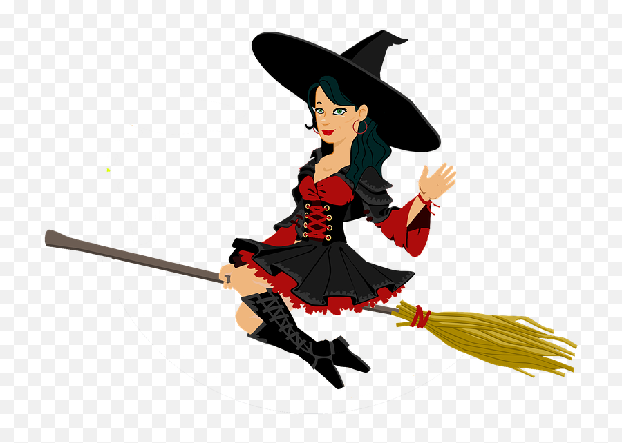 Witch Halloween Hat - Witch On A Broom Emoji
