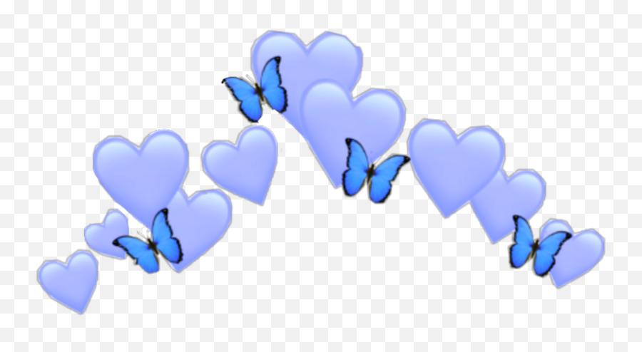Blue Heart Emoji Crown Butterfly Girl - Blue Heart Emoji Transparent
