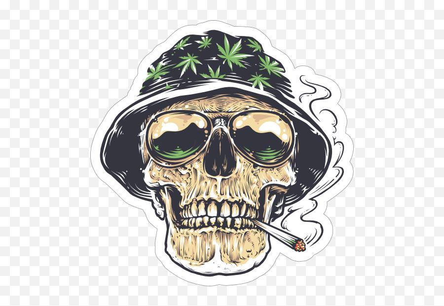 Weed Smoking Skull In Hat Sticker - Cool Weed Cartoon Emoji