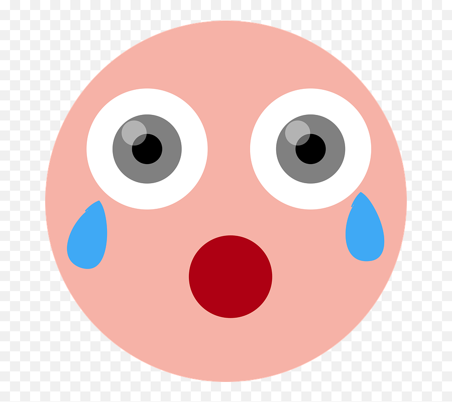 Crying Shocked Emoticon - Circle Emoji,Facebook Sad Emoji