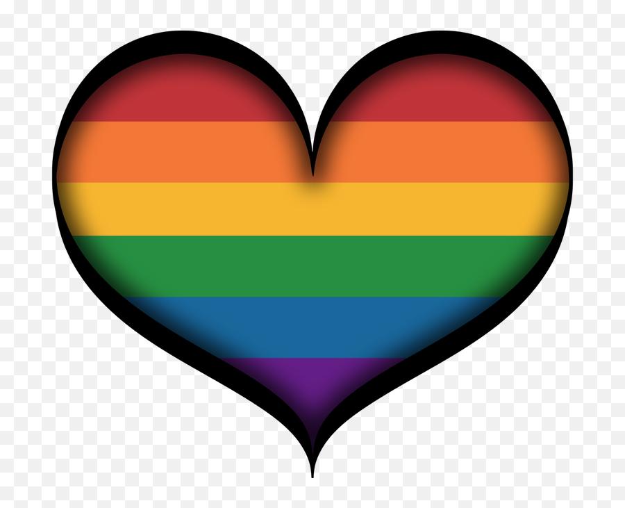 Large Gay Pride Heart In Lgbt Rainbow Colors With Black - Gay Pride Emoji