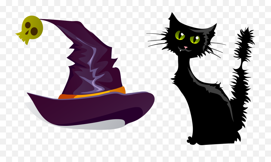 Svg Black And White Cat Clipart Free - Halloween Illustrations Emoji,Black Cat Emoji