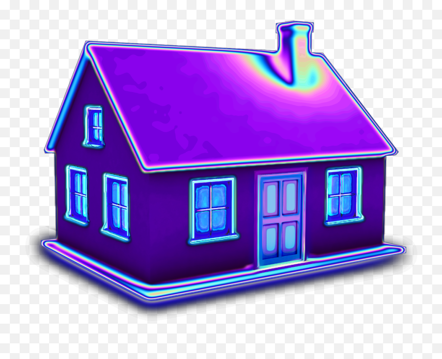 House 3d Holographic Purple Home Building Aesthetic Ba House Emoji Free Transparent Emoji Emojipng Com