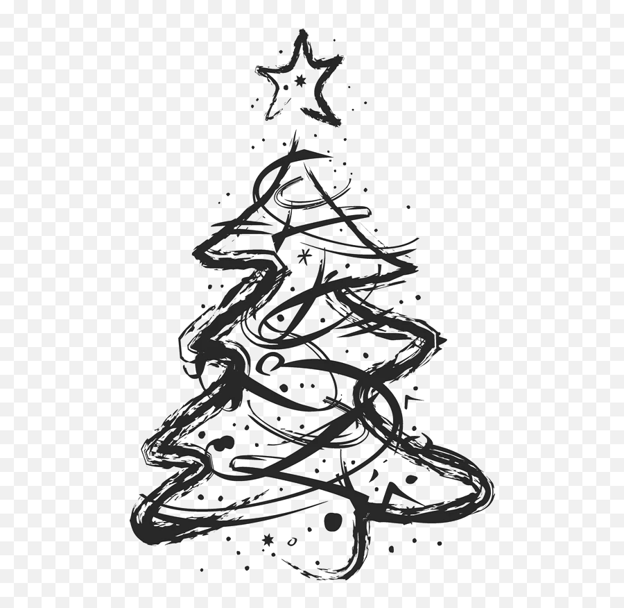 Sketched Artistic Christmas Tree Stamp - Transparent Pink Christmas Tree Emoji,Christmas Tree Emojis
