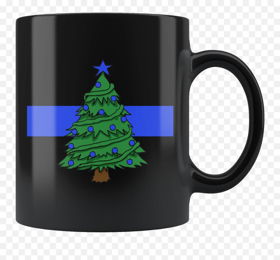 Thin Blue Line Christmas Tree Mug - Mug Emoji,Christmas Tree Emoticon