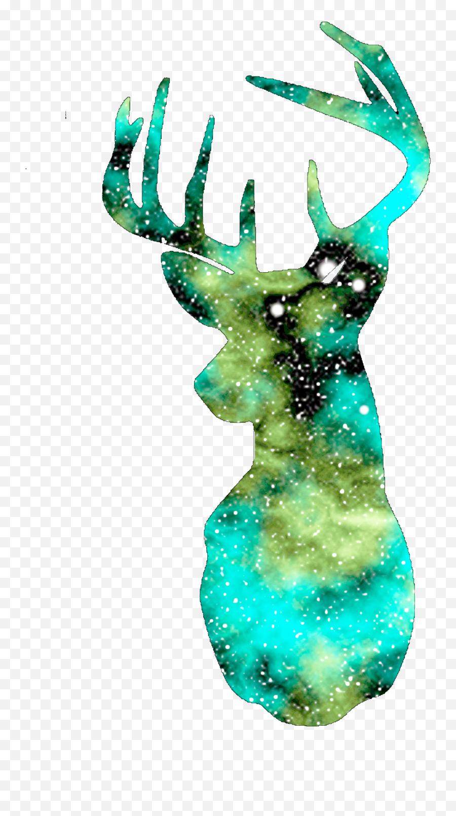 Deer Silhouette Galaxy - Transparent Galaxy Deer Emoji,Deer Emoji Iphone