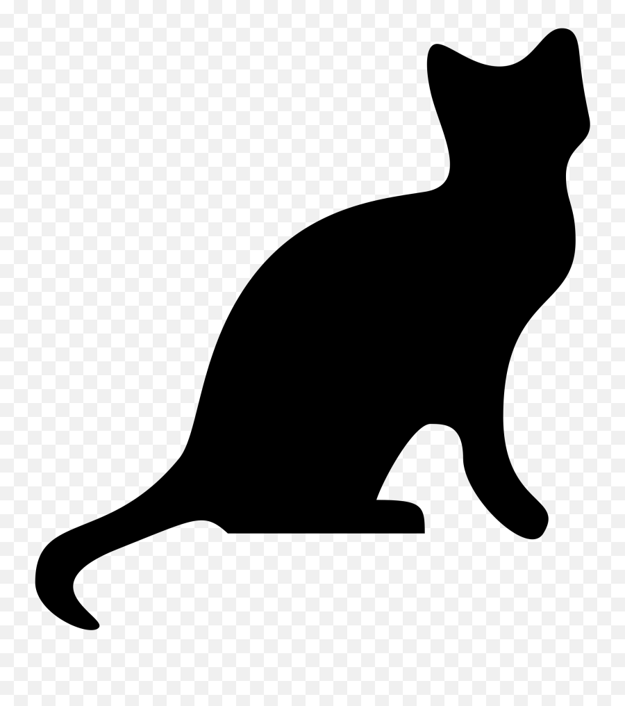 Cartoon Black Cat Vector And White Download Rr Collections - Cat Silhouette Transparent Background Emoji,Black Cat Emoji