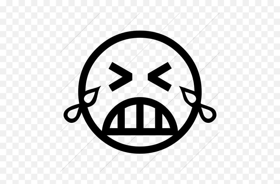 Simple - Cry Face Black And White Emoji,Sobbing Emoji