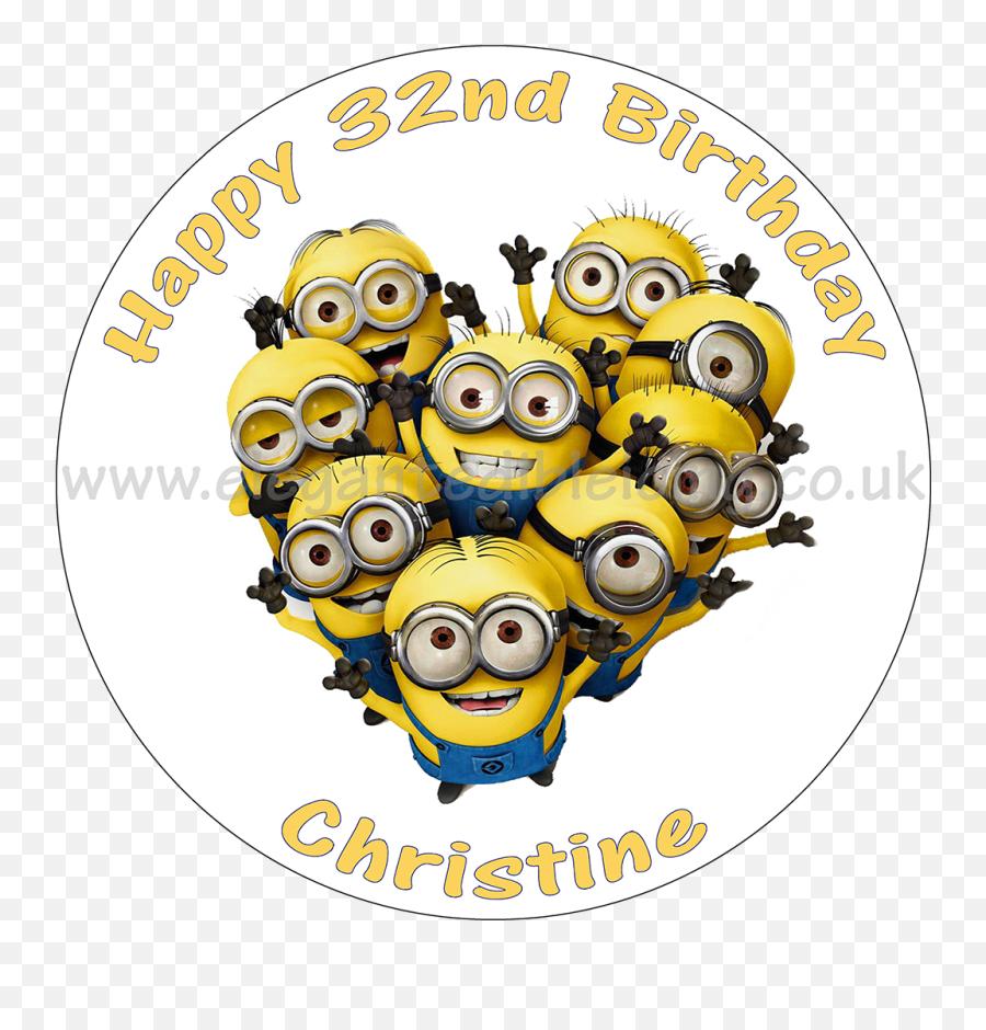Minions Round Edible Birthday Cake Topper - Cartoon Emoji