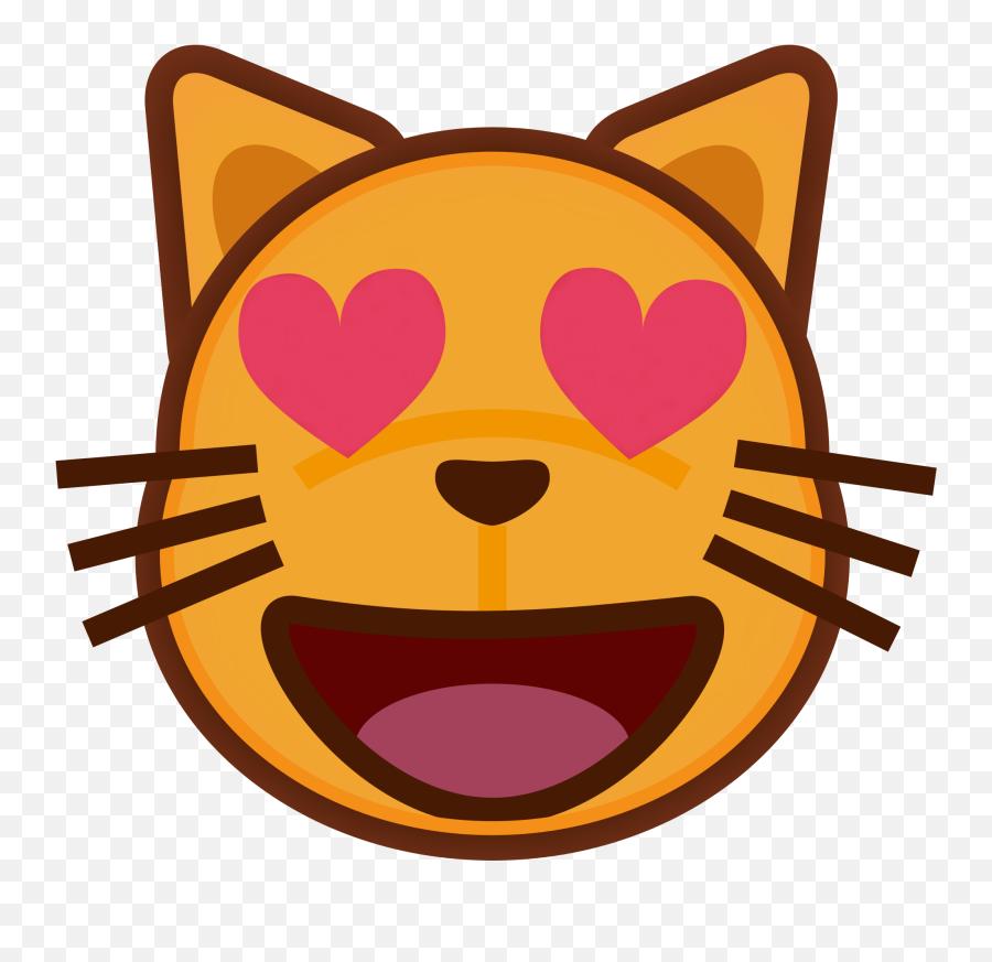 Heart Eyes Emoji Clipart - Cartoon Open Mouth Face Clipart,Black Cat Emoji