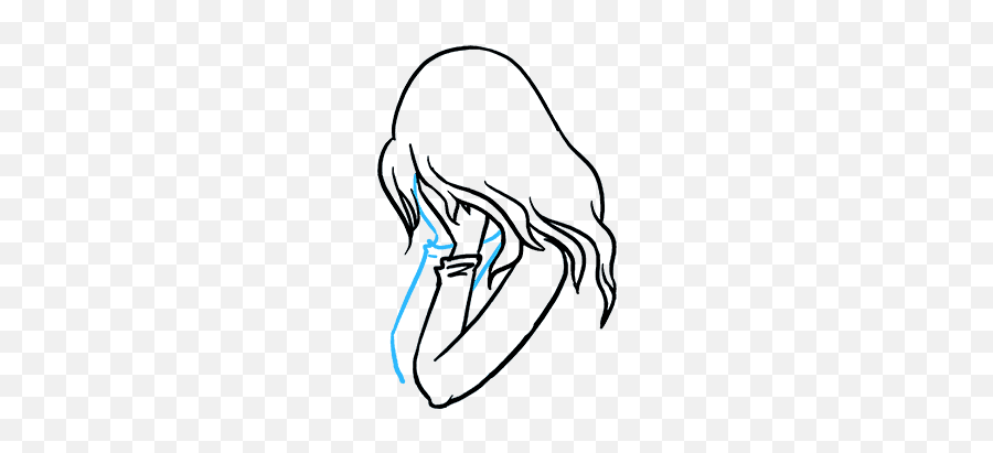 How To Draw A Sad Girl Crying - Really Easy Drawing Tutorial Fille Triste Accroupie Dessin Emoji,Sobbing Emoji