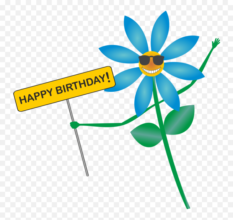 Happy - Happy Birthday Flower Cartoon Emoji