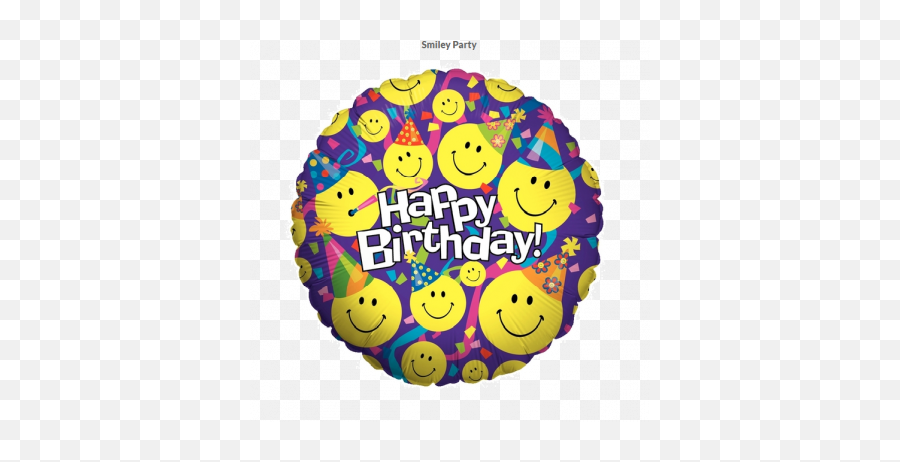 Betallic Foil 45cm Smiley Party Birthday - Foil Balloons Smiley Birthday Emoji