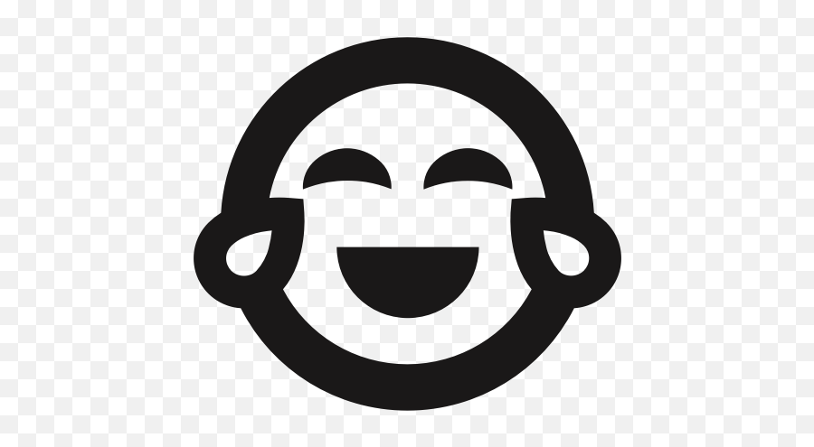Crying Emoji Emoticons Happy Joy Laugh Tears Icon - Laughing Crying Emoji Png Black And White