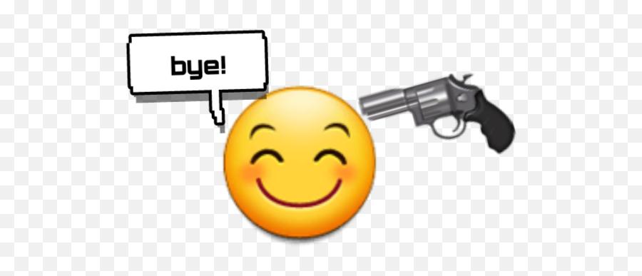 Bye Text Emoji Pistol Gun Happy Smile Sad Death Yellow - Emoji Gun Laughing