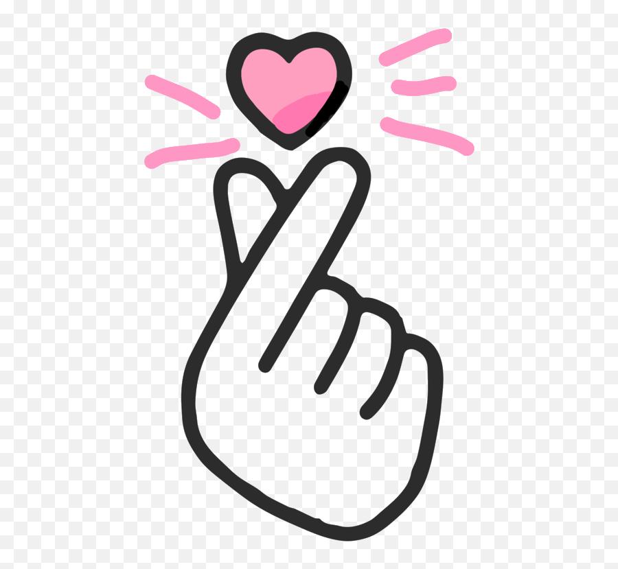 Korean Finger Heart Emoji Hd Png Download - Finger Heart Png