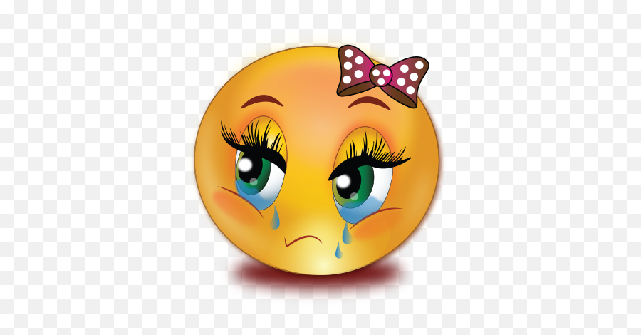 Sad Crying Girl Emoji - Sad Face Girl Emoji,Crying Emoji