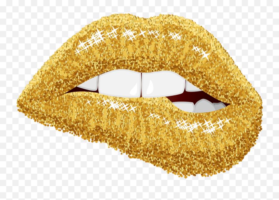 Lips Gold Tumblr Teeth Bite Summer July Sticker Fyp Fre - Gold Lips Emoji