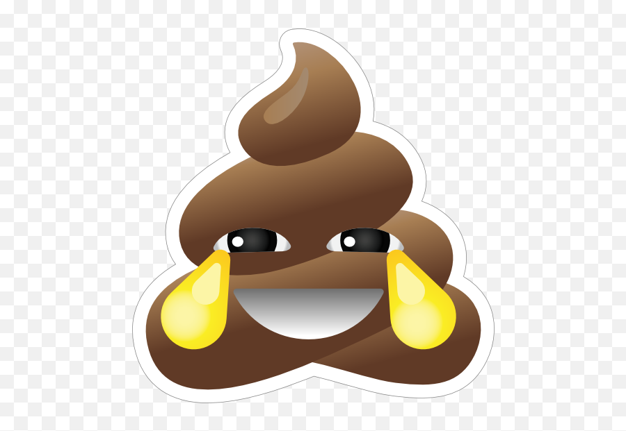 Crying With Laughter Poop Emoji Sticker - Laughing Crying Poop Emoji,Crying Emoji