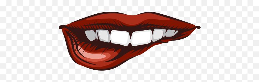 Lips Mouth Red Teeth Bite - Illustration Emoji